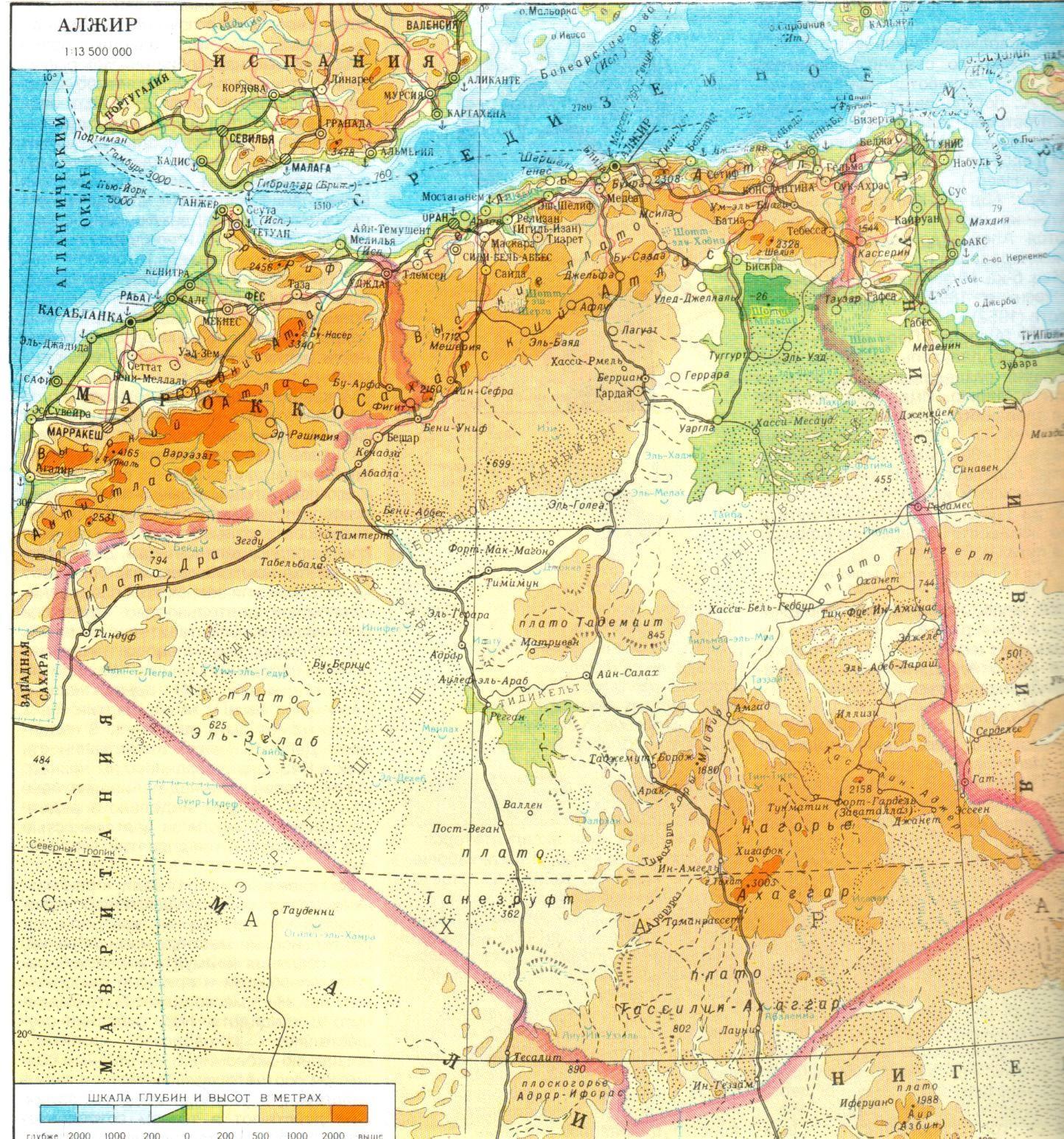 阿尔及利亚详细地图